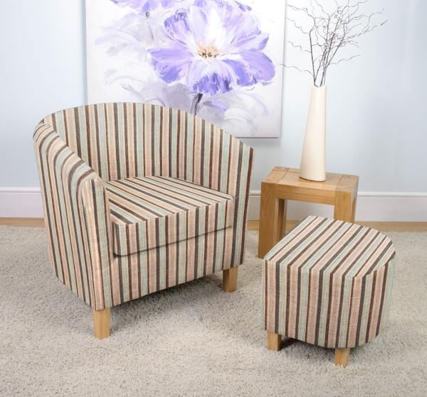 Shankar Stripe Fabric Tub Chair Set - Duck Egg Blue
