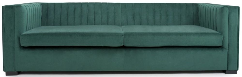 Shankar Victoria Green Brushed Velvet 4 Seater Sofa