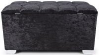 Shankar Molineux 3ft Crystal Black Crushed Velvet Ottoman
