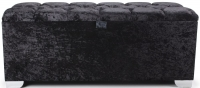 Shankar Molineux 4ft Crystal Black Crushed Velvet Ottoman