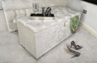 Shankar Pearl Crushed Velvet with Crystal Buttoned Small Ottoman