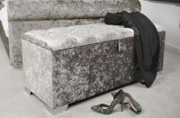 Shankar Steel Crusshed Velvet with Crystal Buttoned Small Ottoman