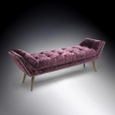 Shankar Montrose Crushed Velvet Chaise - Grape