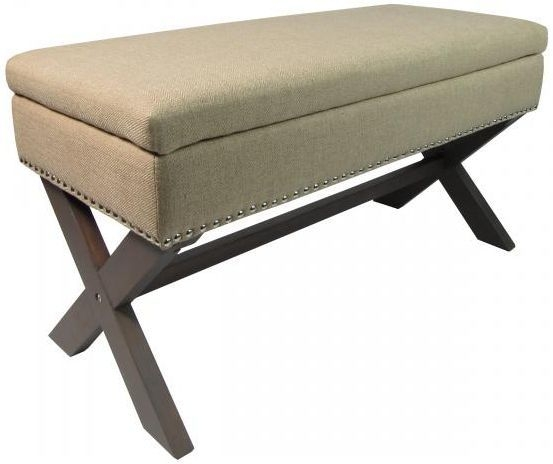 Lotti ottoman footstool fabric taupe storage bench foot for Chaise bench storage