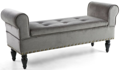 Clearance - Shankar Downtown Grey Brushed Velvet Storage Ottoman Bench - New - E-641