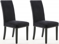 Shankar Chenille Effect Jet Black Stud Fabric Dining Chair with Black Legs (Pair)