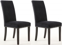 Shankar Chenille Effect Jet Black Stud Fabric Dining Chair with Brown Legs (Pair)