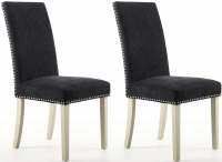 Shankar Chenille Effect Jet Black Stud Fabric Dining Chair with Cream Legs (Pair)