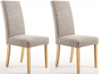 Shankar Oatmeal Tweed Stud Fabric Dining Legs with Natural Legs (Pair)