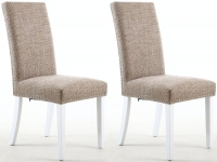 Shankar Oatmeal Tweed Stud Fabric Dining Legs with White Legs (Pair)
