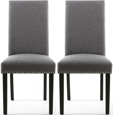 Shankar Randall Steel Grey Linen Effect Fabric Studded Accent Dining Chair with Black Legs (Pair)