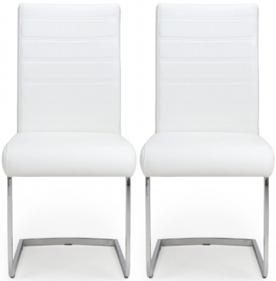 Shankar Callisto White Leather Dining Chair (Pair)