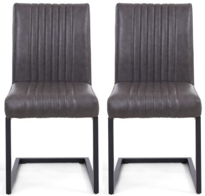 Shankar Archer Grey Leather Match Cantilever Accent Dining Chair (Pair)