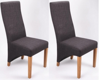 Shankar Baxter Linen Effect Dining Chair - Charcoal (Pair)