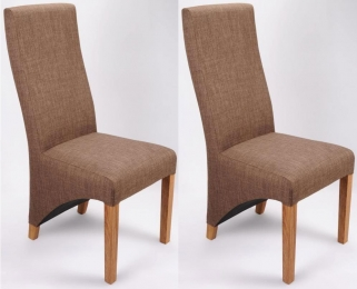 Shankar Baxter Linen Effect Dining Chair - Cinnamon (Pair)
