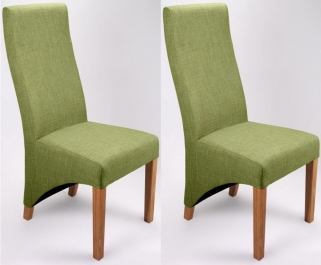 Shankar Baxter Linen Effect Dining Chair - Lime (Pair)
