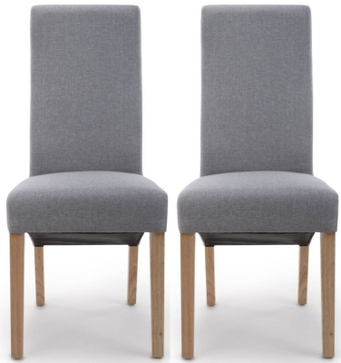 Shankar Baxter Silver Grey Linen Effect Fabric Accent Dining Chair (Pair)