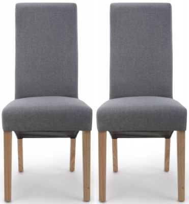 Shankar Baxter Steel Grey Linen Effect Wave Back Fabric Accent Dining Chair (Pair)