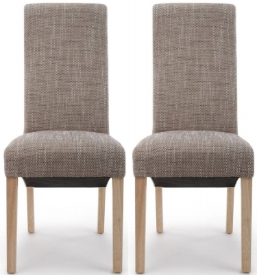 Shankar Baxter Tweed Oatmeal Wave Back Fabric Accent Dining Chair (Pair)