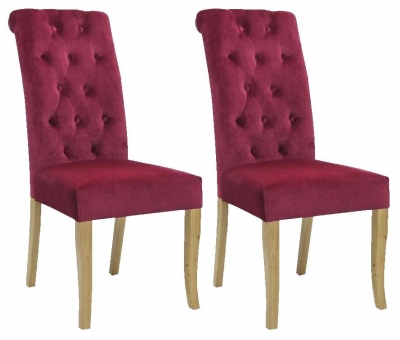 Shankar Bronte Brushed Velvet Dining Chair - Burgundy (Pair)
