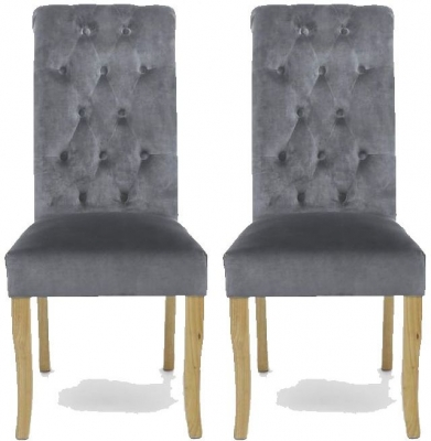 Shankar Bronte Brushed Velvet Dining Chair - Grey (Pair)