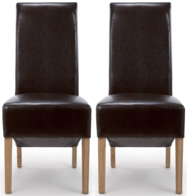 Shankar Krista Brown Bonded Leather Roll Back Accent Dining Chair (Pair)