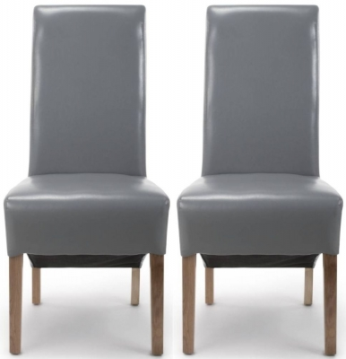 Shankar Krista Grey Bonded Leather Roll Back Accent Dining Chair (Pair)
