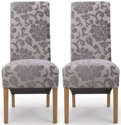 Shankar Krista Mink Baroque Velvet Roll Back Fabric Accent Dining Chair (Pair)