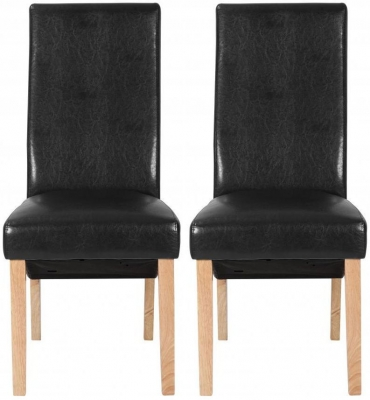 Shankar Milo Leather Dining Chair - Black (Pair)