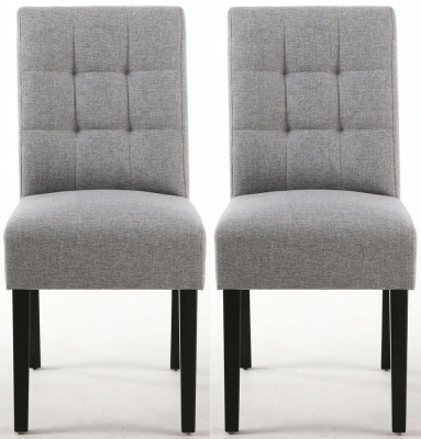Shankar Moseley Silver Grey Linen Effect Fabric Stitched Back Accent Dining Chair with Black Legs (Pair)