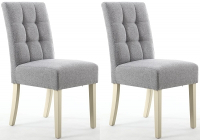 Shankar Moseley Silver Grey Linen Effect Fabric Stitched Back Accent Dining Chair with Cream Legs (Pair)