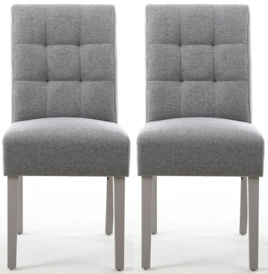 Shankar Moseley Silver Grey Linen Effect Fabric Stitched Back Accent Dining Chair with Grey Legs (Pair)