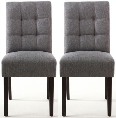 Shankar Moseley Steel Grey Linen Effect Stitched Back Fabric Accent Dining Chair with Brown Legs (Pair)