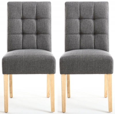 Shankar Moseley Steel Grey Linen Effect Stitched Back Fabric Accent Dining Chair with Natural Legs (Pair)