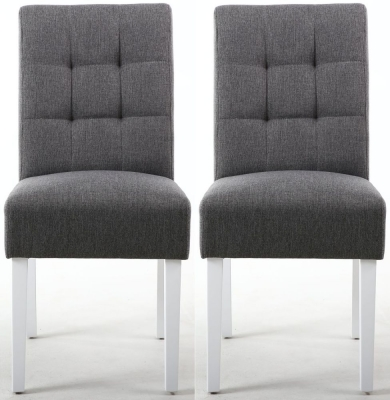 Shankar Moseley Steel Grey Linen Effect Stitched Back Fabric Accent Dining Chair with White Legs (Pair)