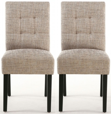 Shankar Moseley Tweed Oatmeal Stitched Back Fabric Accent Dining Chair with Black Legs (Pair)