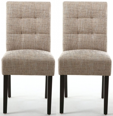 Shankar Moseley Tweed Oatmeal Stitched Back Fabric Accent Dining Chair with Brown Legs (Pair)