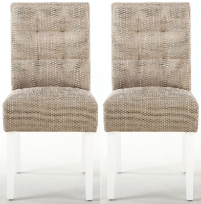 Shankar Moseley Tweed Oatmeal Stitched Back Fabric Accent Dining Chair with White Legs (Pair)