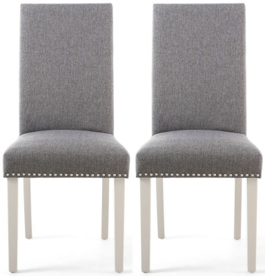 Shankar Randall Sliver Grey Linen Effect Fabric Studded Accent Dining Chair with Cream Legs (Pair)