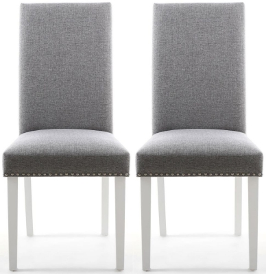 Shankar Randall Sliver Grey Linen Effect Fabric Studded Accent Dining Chair with White Legs (Pair)