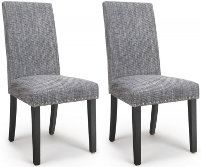 Shankar Randall Tweed Grey Fabric Studded Accent Dining Chair with Black Legs (Pair)