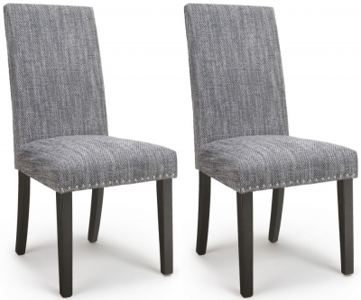 Shankar Randall Tweed Grey Fabric Studded Accent Dining Chair with Brown Legs (Pair)