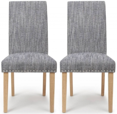 Shankar Randall Tweed Grey Fabric Studded Accent Dining Chair with Natural Legs (Pair)