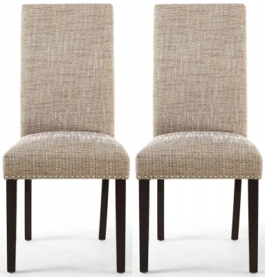 Shankar Randall Tweed Oatmeal Fabric Studded Accent Dining Chair with Brown Legs (Pair)