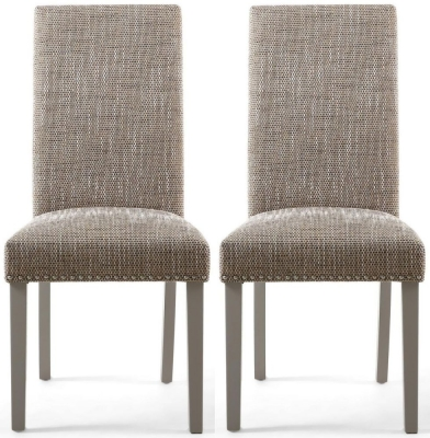 Shankar Randall Tweed Oatmeal Fabric Studded Accent Dining Chair with Grey Legs (Pair)