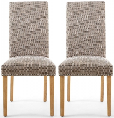 Shankar Randall Tweed Oatmeal Fabric Studded Accent Dining Chair with Natural Legs (Pair)