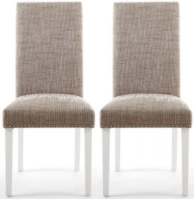 Shankar Randall Tweed Oatmeal Fabric Studded Accent Dining Chair with White Legs (Pair)