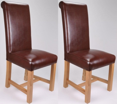 Shankar Richmond Antique Bonded Leather Dining Chair - Brown (Pair)
