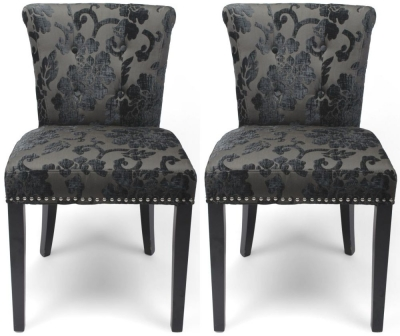 Shankar Sandringham Baroque Charcoal Velvet Studded Knockerback Accent Dining Chair (Pair)