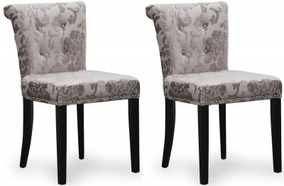 Shankar Sandringham Baroque Mink Velvet Studded Knockerback Accent Dining Chair (Pair)